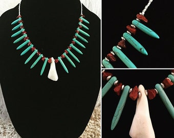 Necklace - Water Buffalo Tooth, Red Jasper and Reconstituted Stone Spike - Tribal, Native American