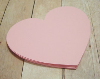 4 inch Paper Heart Cutouts-Pink Cardstock Hearts-Pink Heart Decor-Shower Advice Cards-Scrapbook Cutouts-Bridal Shower Heart Decor