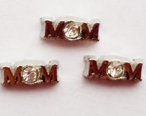 Mom Charms, Living Memory Locket Charms, Crystal Floating Charms, Gift For Her, 5 Pieces