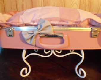 Christmas Sale!!   Unique upcycled pet bed suitcase, pink, vintage dog cat bed, Handmade, Pretty,  Recycled materials, Original design,