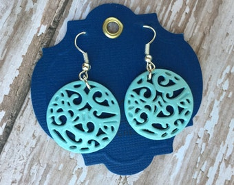 Aqua Blue Coin Filigree Earrings - Round Earrings - Lace Earrings - Boho Earrings - Drop Earrings - Colorful Earrings - Geometric Earrings