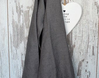 Soft linen towel Set of 2 - Dark grey towels - Medium size linen towels - Guest rustic hand/face/tea towels - Fringed thick linen towels