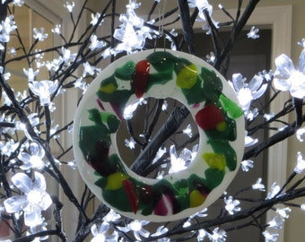 Handmade Fused Glass Christmas Wreath