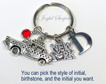 New York KeyChain, New York Taxi Key Chain, The Big Apple I love New York Keyring, NYC Gift Jewelry Personalized Initial Birthstone custom