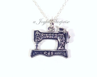 Seamstress Necklace, Gift for Home Economic Teacher, Sewing machine Jewelry, Silver Charm Long Short Sterling Silver Chain Canada sew 192