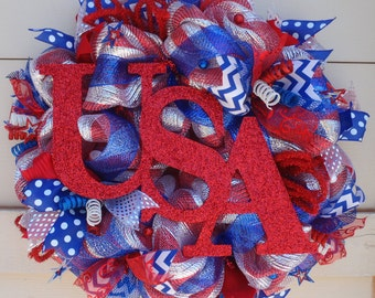 Fourth July wreath,4th July wreath, July 4th wreath,USA wreath,Independence Day wreath,patriotic wreath,red white blue wreath,July 4 decor