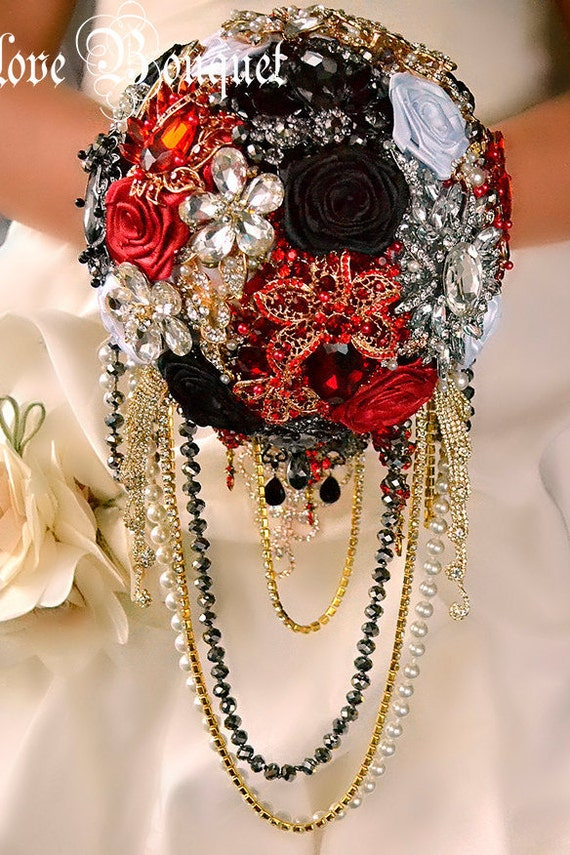 Black Red And Gold Silver Wedding Brooch Bouquet By LoveBouquet
