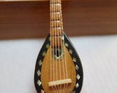 Dollhouse Miniature Wood Mandolin with Abalone Inlay (1/12 Scale)