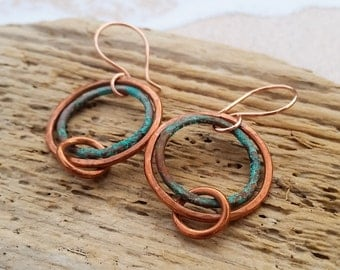 Sale! Patina and Hammered Copper Hoop Earrings - Handmade Maine made Jewelry - Turquoise color - Sea Salt - One of a kind - Dangle - Ocean