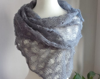 """Hand Knit Mohair Shawl. Blue Mohair Scarf. """"Something Blue"""" Scarf. Mohair Lace Scarf."""