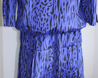 Vintage 1980's Purple Tiger Print Dress