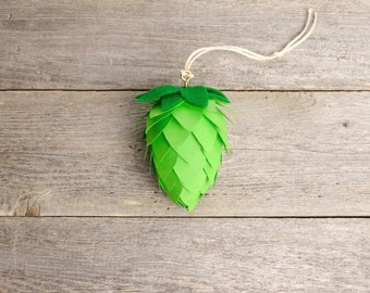 Green Hop Cone Ornament / Beer Gifts / Christmas Ornament / Brewing Gifts / Beer Stocking Stuffers / Green Hops