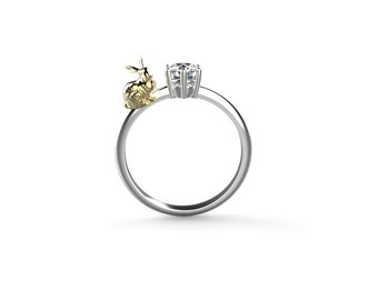Bunny Engagement Ring White Gold Rabbit Engagement Ring 14k Rabbit Ring Gold Bunny Ring Bunny Rabbit White Gold