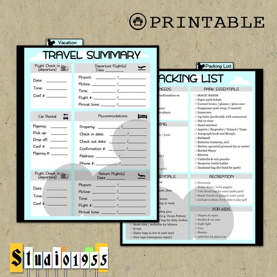 printable disney vacation dashboard  u0026 packing by studio1955