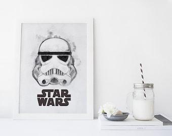 STARWARS Art, Stormtrooper Helmet, Stormtrooper Art, Star Wars Art Print, Printable Men Gift, Star Wars Stormtrooper
