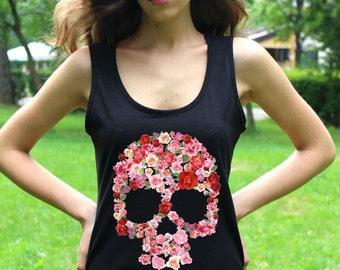 Sugar Skull Shirt Skull Shirts Skull Clothing Skeleton Shirts Skull Tank Top Floral Women Tank Tops Shirts