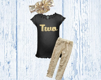 Girl's Birthday Outfit - Black and Gold Birthday Outfit - Glitter Gold Birthday Shirt