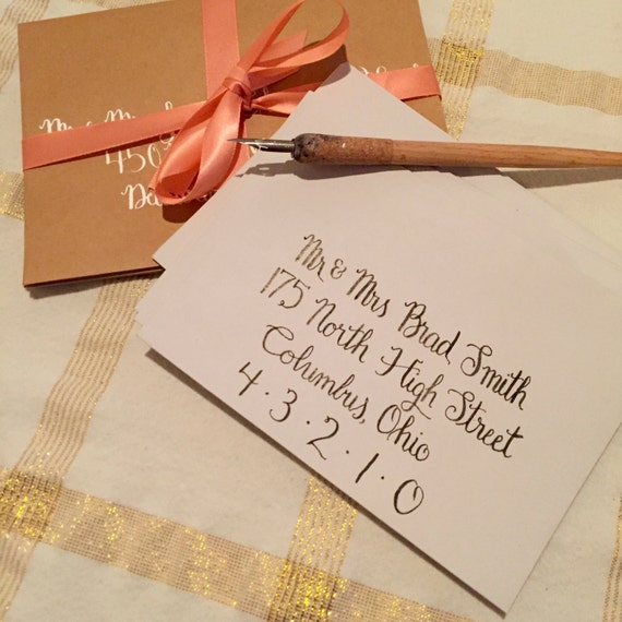 Handwritten Wedding Invitations Envelopes: Wedding Envelope Calligraphy Handwritten By