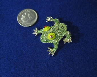 Vintage Enameled and Jeweled Frog Brooch Pin