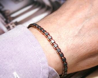 Men Beaded bracelet, Healing Bracelet, square Hematite 3mm, Men Gemstone bracelet, Men Gift, Men braided Bracelet, Men Woven Bracelet, zen