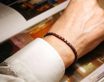 Men Bracelet, Men Gemstone bracelet, Men Hematite bracelet, Burgundy, Gift for Men, Men Gifts, Gift For Him, men braided/woven bracelet,