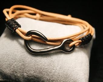 Men bracelet, leather hook wrap, gunmetal hook clasp, men cuff, men boho bracelet, nautical hook bracelet, men bracelet, natural leather