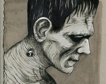 Frankenstein pen and ink drawing