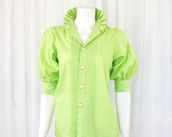 Super amazing lime green Vintage collar top blouse 10 12 puff sleeve