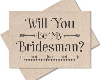 Rustic wedding, will you be my bridesman card wedding party recycled kraft bridesman invitations man of honor wedding card