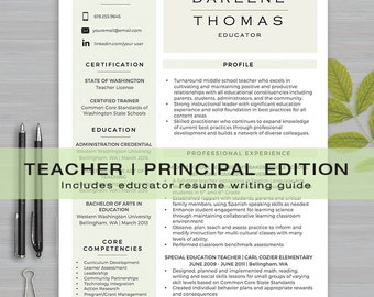 TEACHER RESUME Template For MS Word | 1 U0026 2 Page Resume, Cover Letter,  Principal Resume