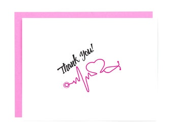 Nurse Card - Nurse Graduation Gift - Nurse Medical Thank You Card - Stethoscope Card - Nurse Appreciation Gift - Nurse Gift Card -