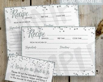 PRINTABLE Silver Glitter Confetti Bridal Shower Recipe Card -  DIY Instant Download Recipe Card Digital File - Shower Invitation Enclosure
