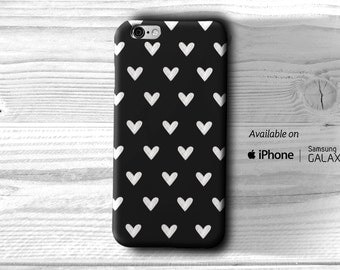 B&W heart Pattern case iPhone 6 Case iPhone 6S case iPhone 5 heart case iPhone 5 Mint case Samsung Galaxy S5 heart case Galaxy 6 Edge case