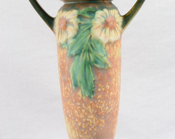 Roseville Pottery 1922 Dahlrose Ovoid Double Handle Vase with Flared Rim