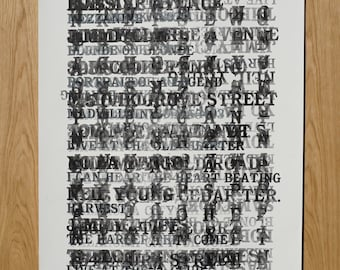 Letterpress Typographic Art Print -- Large Format Abstract Monoprint Poster