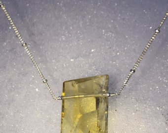 Citrine Pendant on 16 Inch Sterling Chain