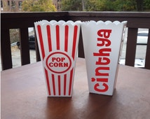 Set of 15 Personalized Popcorn Bowl, Individual, pop corn, popcorn favor, pop corn box, popcorn bag, sleepover party favor, birthday