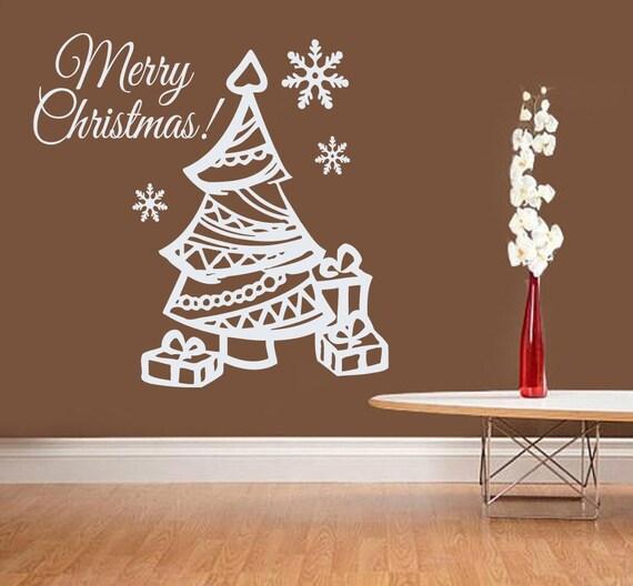 Christmas Wall Decal Christmas Tree Decal By Amazingdecalsart