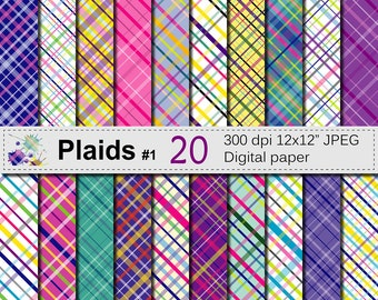 Colorful Bright Plaid Digital Paper Set, Purple Blue Green Pink Yellow Digital Scrapbook papers , Plaid Patterns, Instant Download