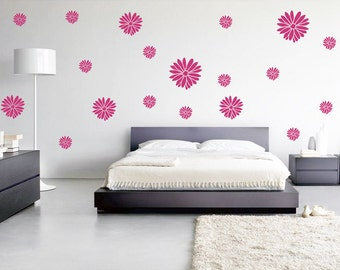 115 Dahlia Wall Decals, Flower Wall Art, Dahlia Bedroom Decor, Flower Decals, Removable wallpaper, Dahlia wall stickers, Girly Wall Decal