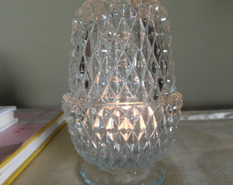 Vintage Clear Glass Diamond Point Fairy Lamp Candle Lamp Indiana Glass