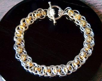 Distilled Moonlight silver and gold helm weave bracelet with toggle clasp