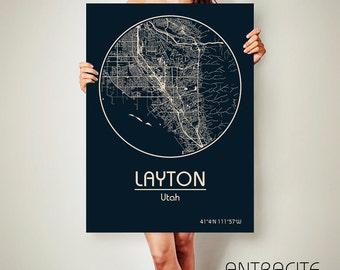 LAYTON Utah CANVAS Map Layton Utah Poster City Map Layton Utah Art Print Layton Utah poster Layton Utah map art Poster Layton Utah map