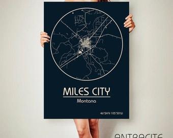 MILES CITY Montana CANVAS Map Miles City Montana Poster City Map Miles City Montana Art Print Miles City Montana poster Miles City Montana