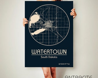 WATERTOWN South Dakota CANVAS Map Watertown South Dakota Poster City Map Watertown South Dakota Art Print Watertown