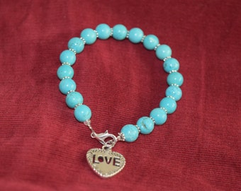 Blue Turquoise Beads Bracelet with Love charm