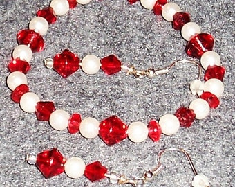 Red Glass Bead and White Pearl Streach Bracelet and Earring Set. Free Shipping