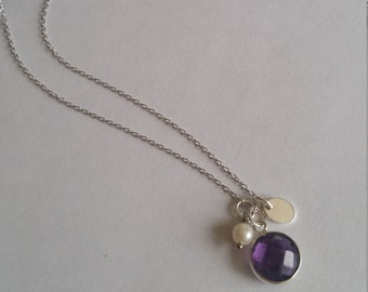 Little stone - Amethyst necklace, Pearl water soft and Silver 925