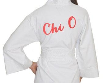 Chi O Darling Wrap Robe, Chi Omega House Letters Cotton Modal Spa Robe, Chi Omega Greek Bath Robe, Chi Omega house robe, Sorority Apparel