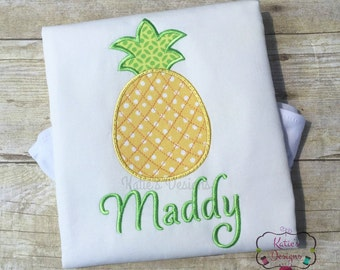 Pineapple Applique Shirt - Pineapple Monogram, Personalized, Girls Shirt, Summer, Monogram Shirt, Summer Applique Shirt, Monogrammed